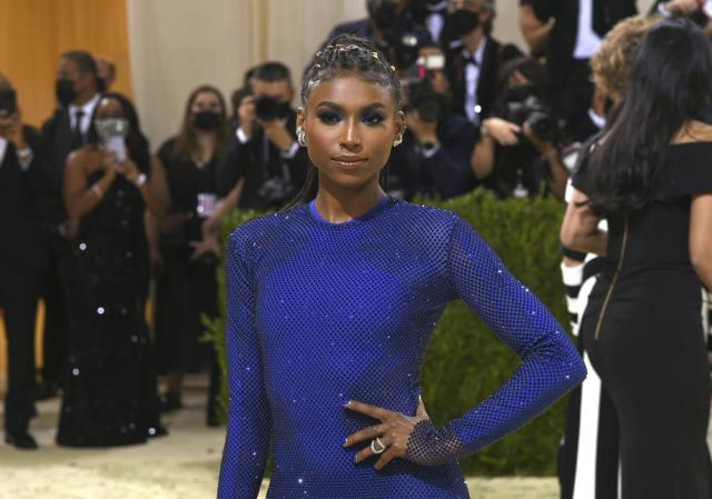 """Nia Dennis attends The Metropolitan Museum of Art's Costume Institute benefit gala celebrating the opening of the """"In America: A Lexicon of Fashion"""" exhibition on Monday, Sept. 13, 2021, in New York. (Photo by Evan Agostini/Invision/AP)"""