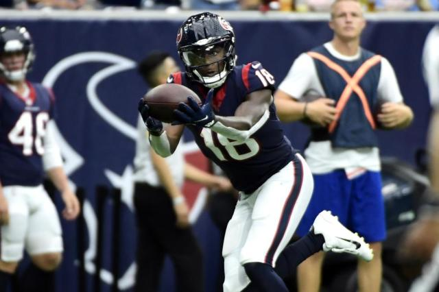 Houston Texans wide receiver Chris Conley (18) makes a touchdown catch against the New England Patriots during the second half of an NFL football game Sunday, Oct. 10, 2021, in Houston. (AP Photo/Justin Rex)