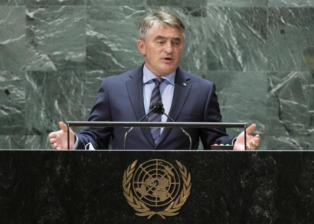 Bosnia and Herzegovina's President Zeljko Komsic addresses the 76th Session of the U.N. General Assembly at United Nations headquarters in New York, on Wednesday, Sept. 22, 2021. (Justin Lane/Pool Photo via AP)