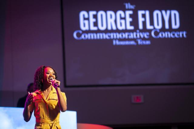 Poet, singer and dancer Jaicei performs during a commemorative concert hosted by the George Floyd Foundation at The Fountain of Praise church on Sunday, May 30, 2021, in Houston. Musicians, elected officials and community members joined the family of George Floyd to reflect on his life and the year of fighting for social justice since his murder. (Annie Mulligan/Houston Chronicle via AP)