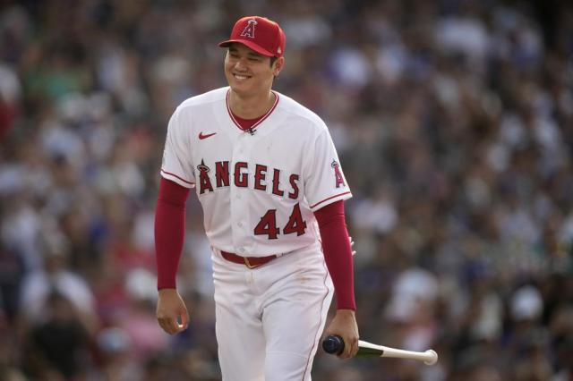 American League's Shohei Ohtani, of the Los Angeles Angeles, walks to the plate during the first round of the MLB All Star baseball Home Run Derby, Monday, July 12, 2021, in Denver. (AP Photo/David Zalubowski)