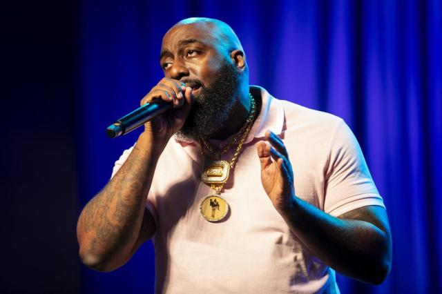 Houston rapper Trae the Truth performs during a commemorative concert hosted by the George Floyd Foundation at The Fountain of Praise church on Sunday, May 30, 2021, in Houston. (Annie Mulligan/Houston Chronicle via AP)
