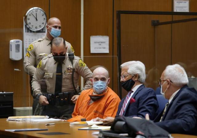 """Michael Thomas Gargiulo, left, listens to his defense attorneys Daniel Nardoni, middle, and Dale Michael Rubin, right, during his sentencing hearing at Los Angeles Superior Court, Friday, July 16, 2021. A judge denied a new trial for Garigiulo, a man prosecutors called """"The Boy Next Door Killer,"""" who could be sentenced to death later Friday for the home-invasion murders of two women and the attempted murder of a third.   (AP Photo/Damian Dovarganes)"""