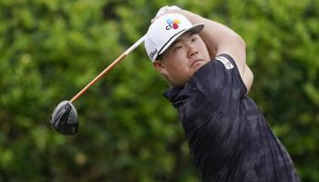 Sungjae Im of South Korea watches his drive off the first tee during the first round of the Sanderson Farms Championship golf tournament in Jackson, Miss., Thursday, Sept. 30, 2021. (AP Photo/Rogelio V. Solis)