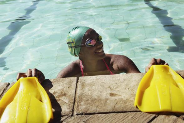 Donata Katai is seen during a swimming practice session in Harare, Zimbabwe, Saturday, July 10, 2021. The southern African nation is sending the black swimmer to the Olympics, the first from her country to the Games. Seventeen-year-old Katai won African youth titles and broke youth records once held by two-time Olympic champion Kirsty Coventry, who is not only Zimbabwe's most successful swimmer but also Africa's most decorated Olympian. (AP Photo/Tsvangirayi Mukwazhi)