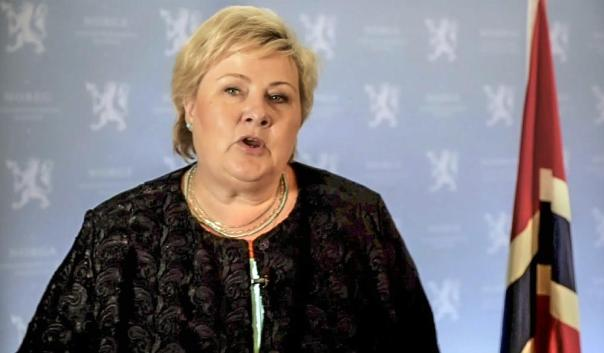 In this photo taken from video shown at United Nations headquarters, Norway's Prime Minister Erna Solberg remotely addresses the 76th session of the U.N. General Assembly in a pre-recorded message, Wednesday Sept. 22, 2021. (UN Web TV via AP)