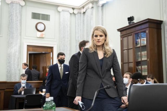 Former Facebook employee and whistleblower Frances Haugen arrives to testify before a Senate Committee on Commerce, Science, and Transportation hearing on Capitol Hill on Tuesday, Oct. 5, 2021, in Washington. (Drew Angerer/Pool via AP)