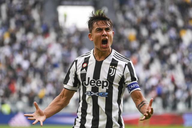 Juventus' Paulo Dybala celebrates after scoring during the Italian Serie A soccer match between Juventus and Sampdoria, in Turin, Italy, Sunday, Sept. 26, 2021. (Marco Alpozzi/LaPresse via AP)