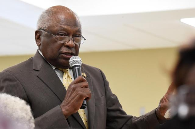 U.S. House Majority Whip Jim Clyburn speaks during a town hall meeting in his district on Wednesday, July 14, 2021, in Hopkins, S.C. (AP Photo/Meg Kinnard)