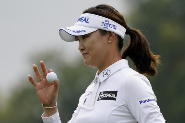So Yeon Ryu, of South Korea, reacts to sinking her putt on the 17th green in the first round of the Cognizant Founders Cup LPGA golf tournament, Thursday, Oct. 7, 2021, in West Caldwell, N.J. (AP Photo/John Minchillo)