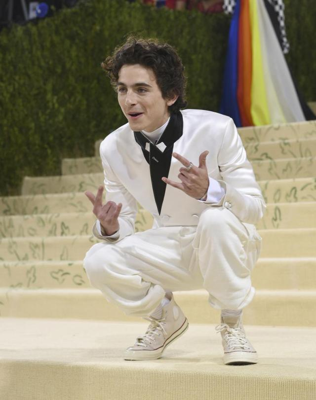 """Timothee Chalamet attends The Metropolitan Museum of Art's Costume Institute benefit gala celebrating the opening of the """"In America: A Lexicon of Fashion"""" exhibition on Monday, Sept. 13, 2021, in New York. (Photo by Evan Agostini/Invision/AP)"""