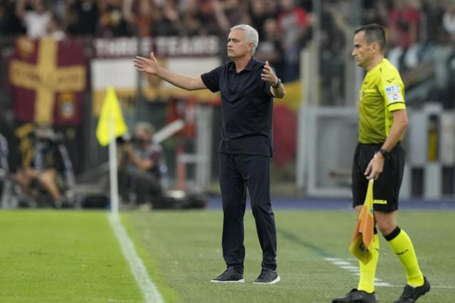 Roma's head coach Jose Mourinho gestures during a Serie A soccer match between Lazio and Roma, at Rome's Olympic Stadium, Sunday, Sept. 26, 2021. (AP Photo/Andrew Medichini)