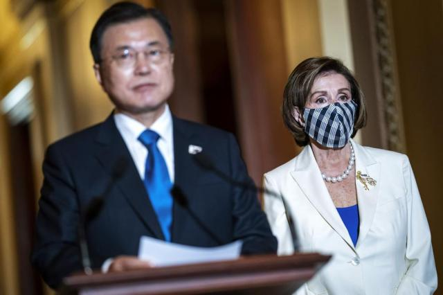 South Korean President Moon Jae-in speaks during a press conference with House Speaker Nancy Pelosi of Calif., on Capitol Hill on Thursday, May 20, 2021, in Washington. (Jabin Botsford/The Washington Post via AP, Pool)