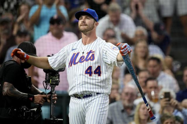 National League's Pete Alonso, of the New York Mets, reacts during the second round of the MLB All Star baseball Home Run Derby, Monday, July 12, 2021, in Denver. (AP Photo/David Zalubowski)