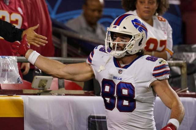 Buffalo Bills tight end Dawson Knox celebrates after scoring during the first half of an NFL football game against the Kansas City Chiefs Sunday, Oct. 10, 2021, in Kansas City, Mo. (AP Photo/Charlie Riedel)
