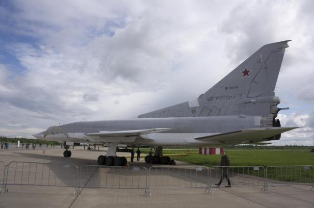 FILE - In this Saturday, May 21, 2016 file photo, a Russian Tu-22M3 bomber at the Kubinka air base outside Moscow, Russia. The Russian military said Tuesday May 25, 2021, it has deployed three nuclear-capable long-range Tu-22M3 bombers to its base in Syria, a move that would strengthen Moscow's military foothold in the Mediterranean. (AP Photo/Vladimir Isachenkov, File)