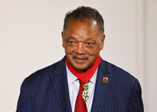 Reverend Jesse Jackson smiles after he was awarded the Legion d'Honneur (Officer of the Legion of Honor) medal during a ceremony at the Elysee Palace in Paris, Monday, July 19, 2021. (Ludovic Marin/Pool Photo via AP)