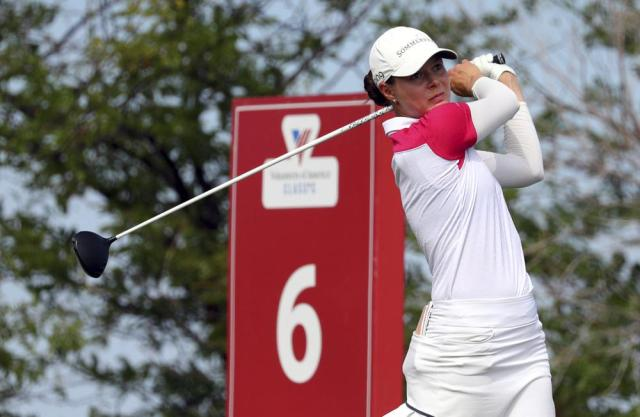 Esther Henseleit hits off the sixth tee during the third round of the LPGA Volunteers of America Classic golf tournament in The Colony, Texas, Saturday, July 3, 2021. (AP Photo/Richard W. Rodriguez)