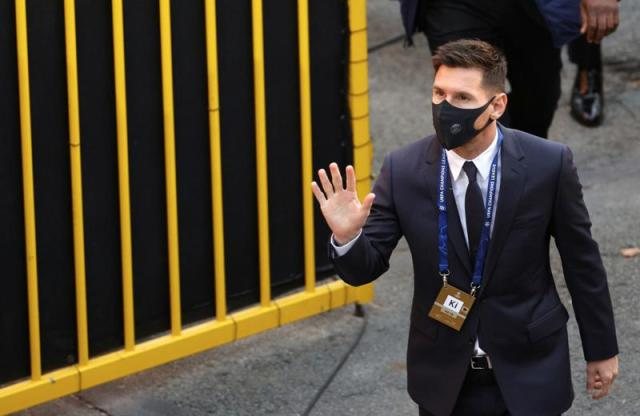 PSG's Lionel Messi arrives at the Jan Breydel stadium ahead of the Champions League Group A soccer match between Club Brugge and PSG in Bruges, Belgium, Wednesday, Sept. 15, 2021. (AP Photo/Olivier Matthys)