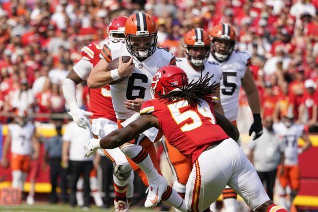 Cleveland Browns quarterback Baker Mayfield (6) scrambles as Kansas City Chiefs linebacker Nick Bolton (54) defends during the first half of an NFL football game Sunday, Sept. 12, 2021, in Kansas City, Mo. (AP Photo/Ed Zurga)