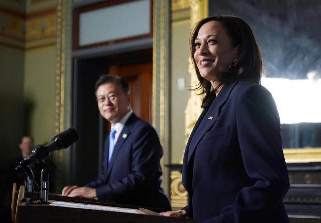 Vice President Kamala Harris meets with South Korean President Moon Jae-in in the ceremonial office in Eisenhower Executive Office Building in the White House complex in Washington, Friday, May 21, 2021. (AP Photo/Andrew Harnik)