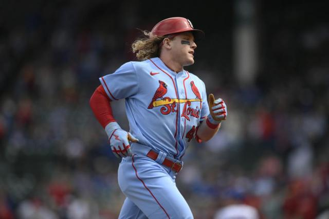 St. Louis Cardinals' Harrison Bader rounds third base after hitting a solo home run during the second inning of a baseball game against the Chicago Cubs Saturday, Sept. 25, 2021, in Chicago. (AP Photo/Paul Beaty)
