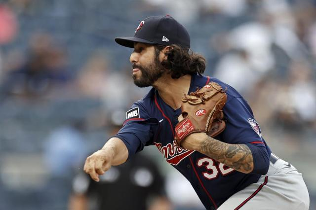 Minnesota Twins pitcher Ralph Garza Jr. delivers to the New York Yankees during the 10th inning of a baseball game on Monday, Sept. 13, 2021, in New York. (AP Photo/Adam Hunger)