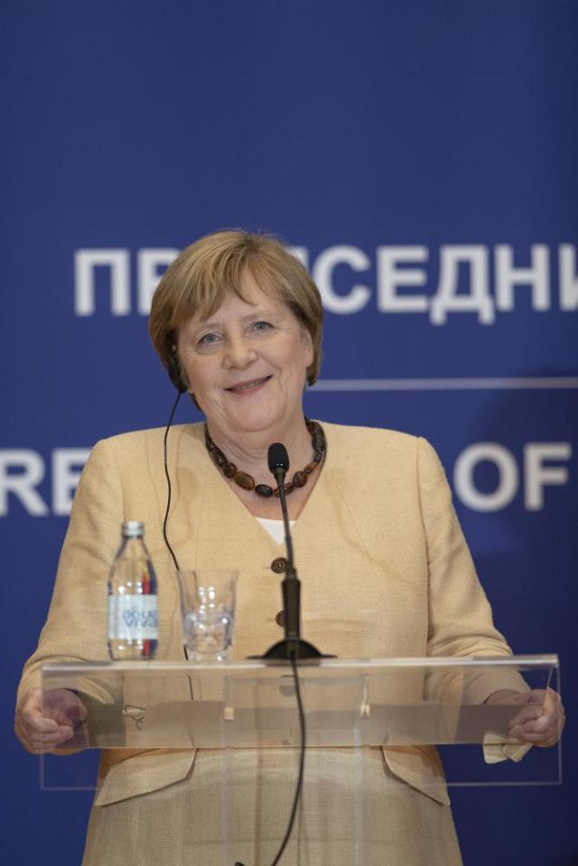 German Chancellor Angela Merkel smiles during a press conference in Belgrade, Serbia, Monday, Sept. 13, 2021. Merkel is on a farewell tour of the Western Balkans, as she announced in 2018 that she wouldn't seek a fifth term as Germany's Chancellor. (AP Photo/Marko Drobnjakovic)