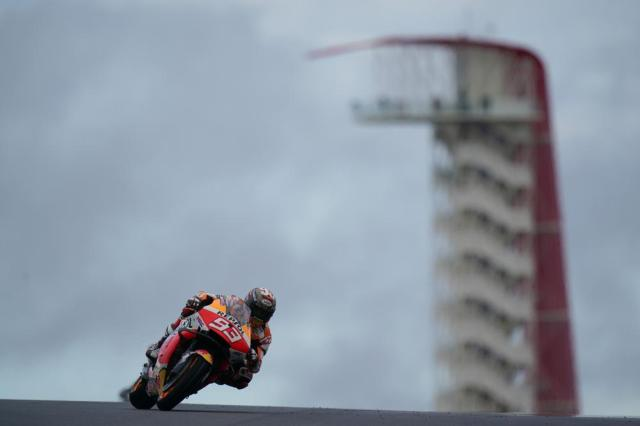 Marc Marquez (93), of Spain, makes a turn during an open practice session for the MotoGP Grand Prix of the Americas race at the Circuit of the Americas, Friday, Oct. 1, 2021, in Austin, Texas. (AP Photo/Eric Gay)