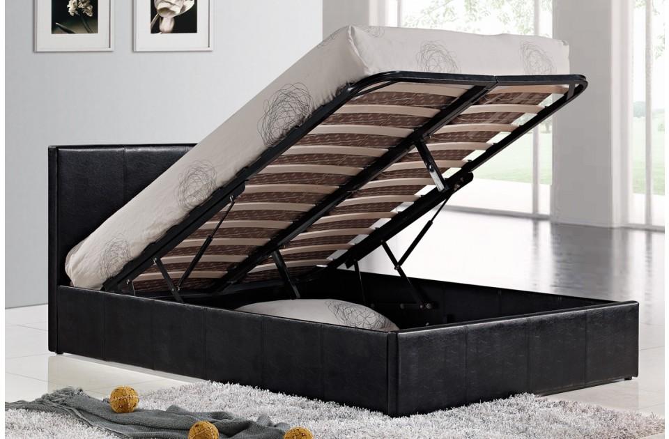 birlea berlin black faux leather ottoman bed