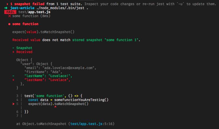 Jest testing snapshot data structure
