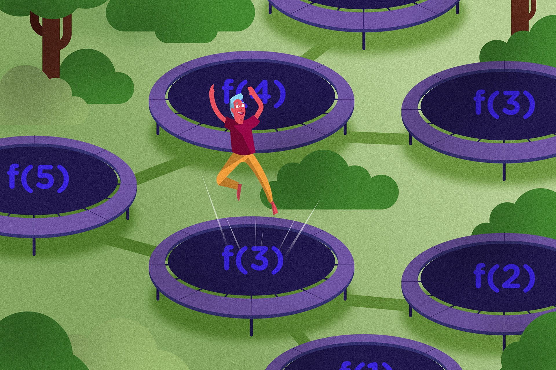 Using trampolines to manage large recursive loops in JavaScript