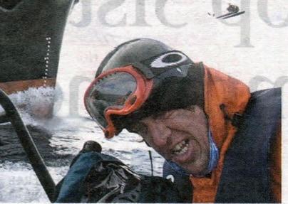 A Sea Shepherd activist wearing a Original Buff® as scarf