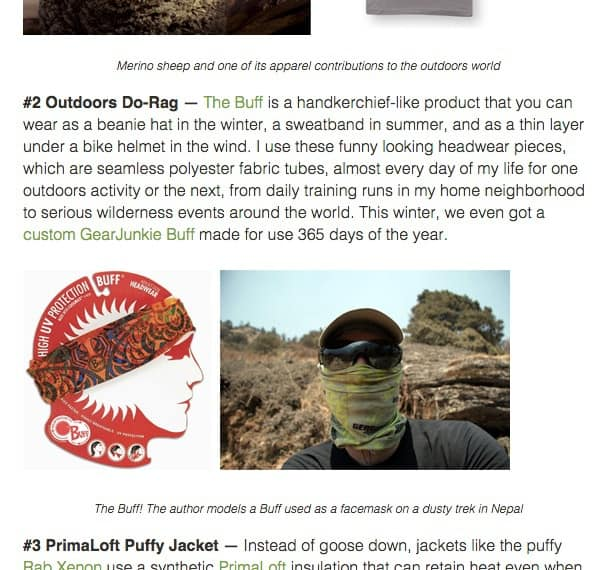 A screenshot of Gearjunkie.com showing the listing of Buff® in the 10 best products of 10 years award