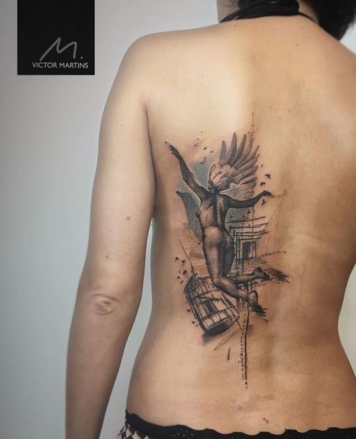 Abstract wing tattoo by Victor Martins