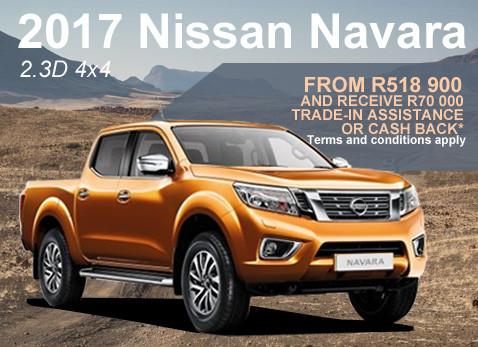 2017 Nissan Navara 2.3D 4X4 special - R70 000 cash back or Trade assistance