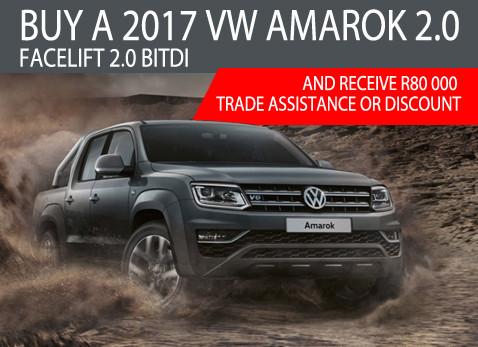 2017 Volkswagen Amarok 2.0 Facelift 2.0 BITi - R80 000 Trade assistance or discount