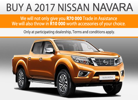 2017 Nissan Navara - R70 000 Trade-in assistance + R10 000 accessories