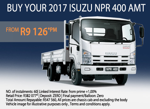 2017 Isuzu NPR 400 AMT from R9 126 p/month