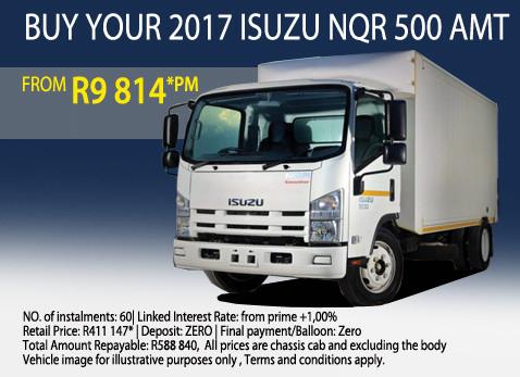 2017 Isuzu NQR 500 AMT from R9 814 per month
