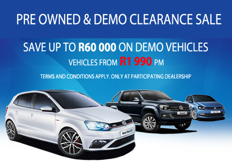 PRE-OWNED AND DEMO CLEARANCE SALE - Save up to R60 000 on Demo Vehicles