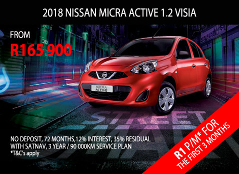 BUY A 2017 NISSAN MICRA ACTIVE 1.2 VISIA Only at Participating Dealership From R165 900