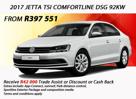 2017 JETTA TSI COMFORTLINE DSG 92KW - R42 000 Trade Assist/Cash Back/Discount
