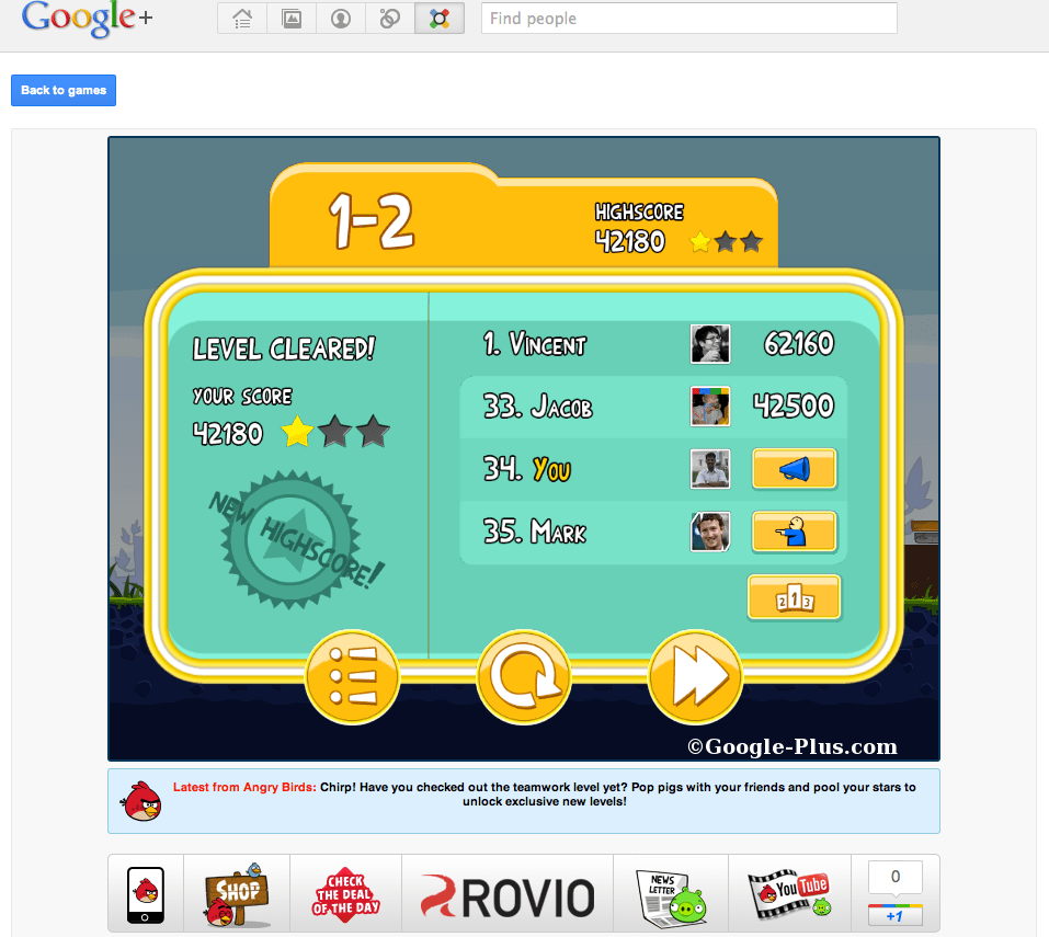 Google plus game leaderboard