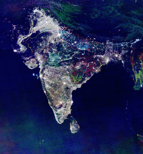 Colorful nightime satellite view of India with lights
