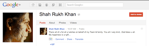 Shahrukh Khan profile on Google+
