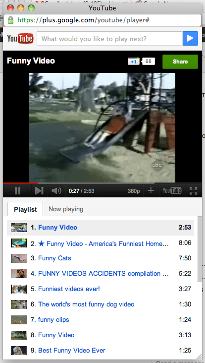 YouTube video player in Google+