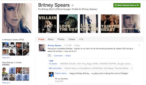 Britney spears #1 most popular person on Google+