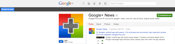 Google+ manage page button