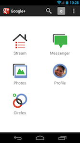 Google+ android app with search